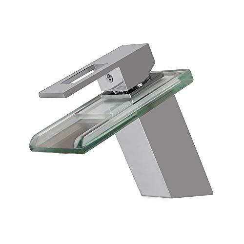 (agua) grifo; grifo; Bibcock luz de lujo de cristal cascada grifo cuarto de baño vanidad cromo cobre caliente y frío monomando inclinado lavabo grifo ahorro de agua a prueba de salpicaduras