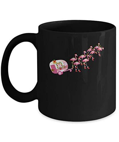 N\A Flamingo Camper Christmas Santa Gift para Glamping Holiday Taza de café