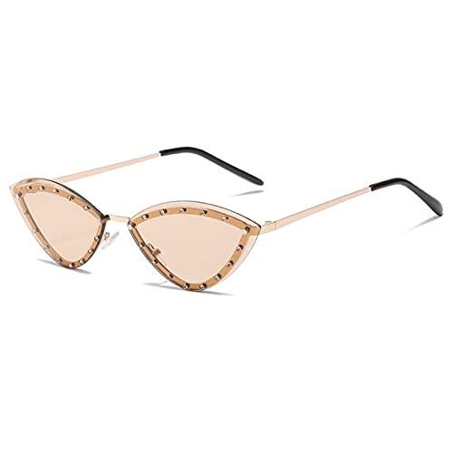 Gafas De Sol Gafas De Sol Sin Montura De Diamantes para Mujer con Montura Metálica, Gafas De Sol De Ojo De Gato para Mujer, Gafas Vintage, Gafas para Mujer, Uv400, Marrón Claro Dorado