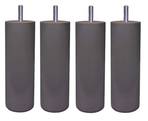 MARGOT 3700527831480 Caméléon Cylindre Lot de 4 Pieds de lit Bois Gris Taupe Hauteur 15 cm