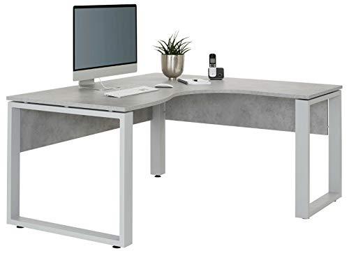 Eckcomputertisch Eckschreibtisch Schreibtisch Bürotisch Weiss Eiche Buche (Color : Steingrau)