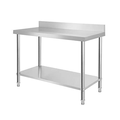 Aufun Edelstahl Arbeitstisch, Küchentisch Tisch Höhenverstellbar Edelstahltisch Arbeitstisch für Küche Bar Restaurant mit Aufkantung, Silber 120 x 60 x 85cm
