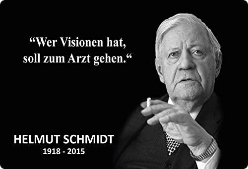 Blechschild 20x30cm gewölbt Wer Visionen hat Zitat Helmut Schmidt Sprüche Deko Geschenk Schild