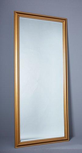 Wholesaler GmbH Wandspiegel Spiegel Flurspiegel ca. 180 x 80 cm Gold Schlichter Landhaus-Stil mit Facettenschliff
