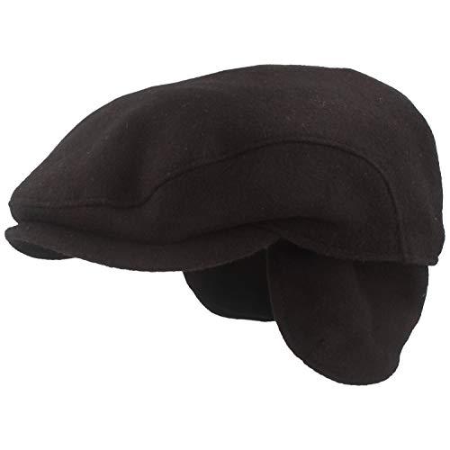 Large bonnet d'hiver - Casquette plate - Avec membrane Gore-Tex® et cache-oreilles rabattables - En laine avec doublure intérieure douce - Noir - Medi