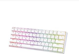 Skeido Wired/Wireless Bluetooth Dual Mode Mechanical Gaming Portable Keyboards 61 Keys RGB Single Backlit Backlight -White