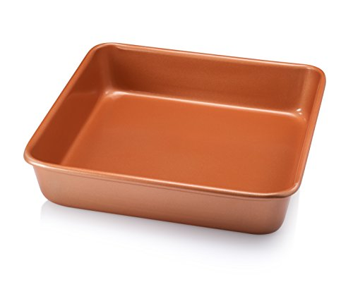 Gotham Steel Pro Nonstick Ultra Durable Bakeware  Nonstick Copper Square Baking Tin  95quot x 95quot Aluminum with Quick Release Ceramic Coating Dishwasher Safe