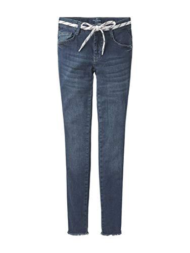 TOM TAILOR Mädchen Jeanshosen Lissie Jeans mit Schnürsenkel-Gürtel Dark Blue Denim Blue,140,K0012,6000