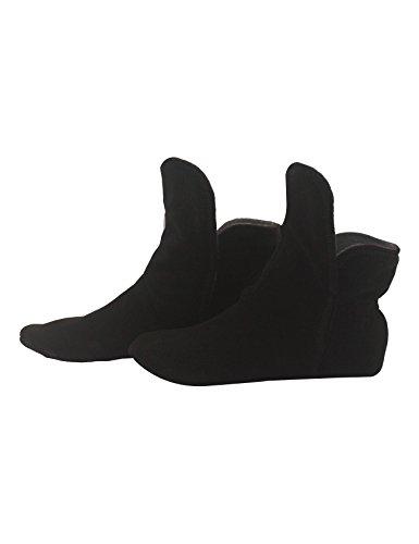 RAIKOU Hausschuhe für Damen, Herren für drinnen aus Micro Fleece mit ABS und Rutschfester Sohle,Haussocken Stoppersocken mit Super Flauschige Hüttenschuhe (Schwarz/Zinn,43/46)