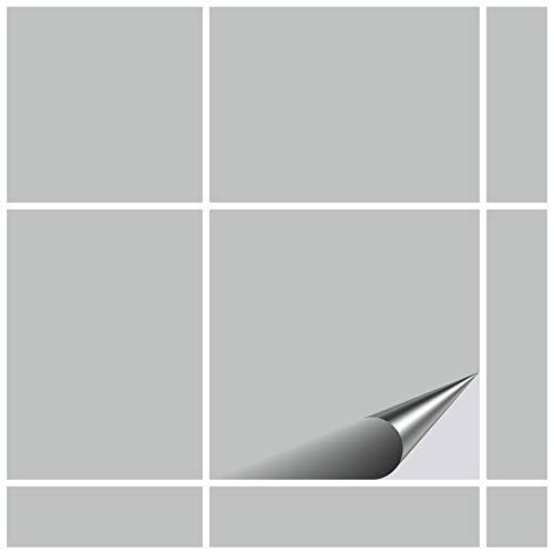 FoLIESEN Fliesenaufkleber 15x15 cm - Fliesen-Folie Bad - Klebefolie Küche - 30 Klebefliesen, Hellgrau glänzend