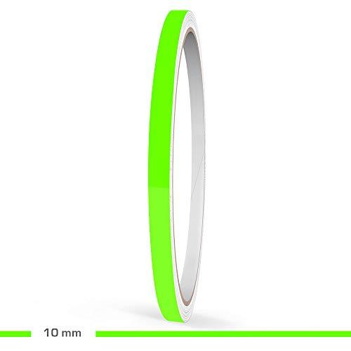 Motoking Zierstreifen, Neon Grün Fluoreszierend, 10 mm Breite, 10 m Länge, Aufkleber Folie Auto Boot Motorrad Wohnmobil Wohnwagen & mehr