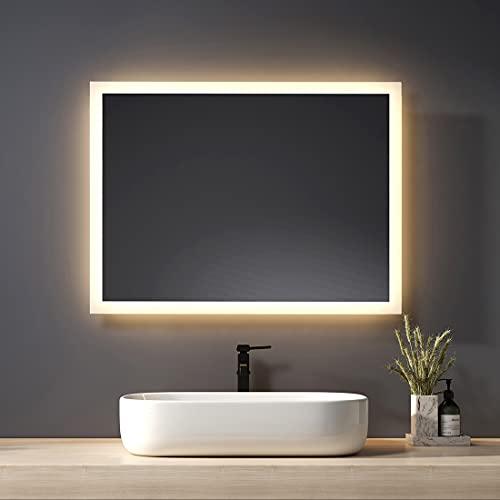 Heilmetz Badspiegel mit Beleuchtung 80x60cm Badezimmerspiegel mit Beleuchtung LED Badspiegel Warmweissen Lichtspiegel Wandspiegel IP44 Energiesparend