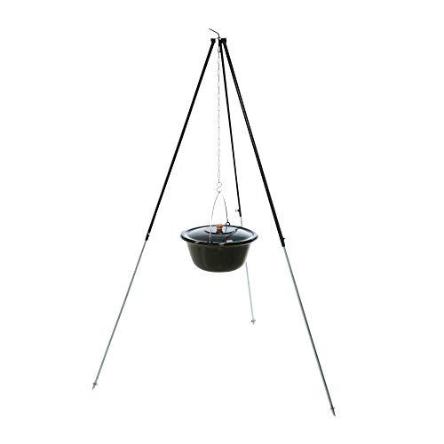 acerto 30134 Original ungarischer Gulaschkessel (14 Liter) + Dreibein-Gestell (180cm) * Emailliert * Kratzfest * Geschmacksneutral Teleskop-Dreifuß mit Gulasch-Topf Suppentopf Glühweintopf Kochkessel
