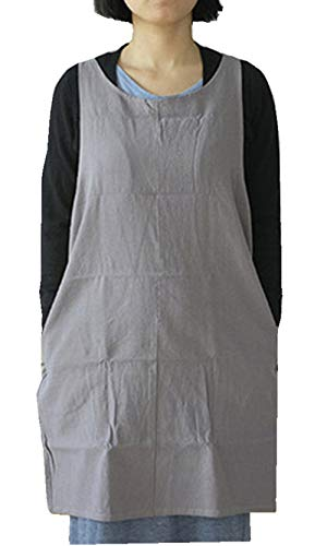 AOBBYBBS Soft Cotton Linen Apron Solid Color Halter Cross Bandage Aprons Japanese Style X Shape Double Pockets Kitchen Cooking Clothes Gift for Women Chef Housewarming -LightGray