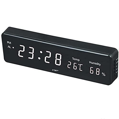 デジタル目覚まし時計、3つのアラームLEDクロック時間温度湿度表示テーブルクロックリビングルームの装飾用EUプラグ,白