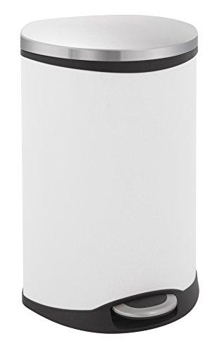 EKO Shell Bin Poubelle à Pédale Métal Blanc 40,6 x 45 x 69 cm 50 litres