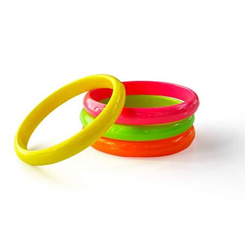 EVENT LIGHTS Neon UV Armreifen - 12 Stück Set - grün, pink, gelb, orange - Leuchten im Schwarzlicht - UV aktiv