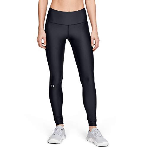 Under Armour womens Heatgear Armour high Waisted leggings , Black (001)/Metallic Silver , Medium