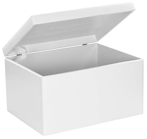 LAUBLUST Große Holzkiste mit Deckel - 40x30x24cm, Weiß, FSC® | Allzweck-Kiste aus Holz - Aufbewahrungskiste | Geschenk-Verpackung | Deko-Kasten zum Basteln | Spielzeug-Truhe | Erinnerungsbox