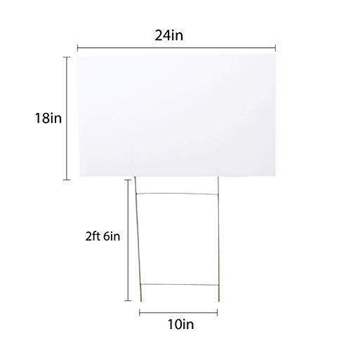 Source One 5 Pack 18 x 24 Blank Yard Signs with H Stakes Durable, Light Weight, Make Your Own Sign- Garage Sale, Yard Sale, Now Hiring, Open House, Lemonade Stand or Political Running (5, 18 x 24)