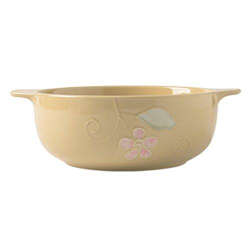 Schüssel mit zwei Ohren, Keramik, 20,3 cm, handgezogen, Nudeln, Salat, Brei, Suppentöpfe, kreatives großes Haushaltsgeschirr (Farbe: Beige)
