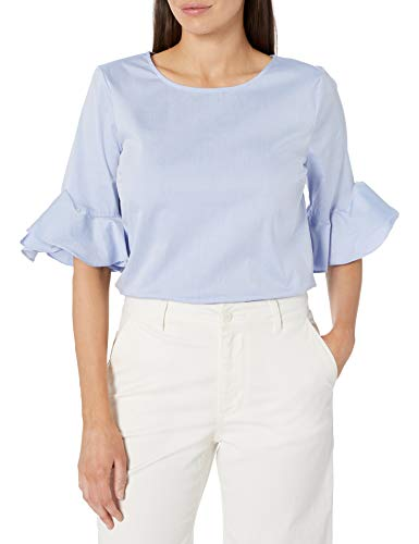 Calvin Klein Women's Crew Neck Ruffle Sleeve Blouse, Chambray Blue, X-Small