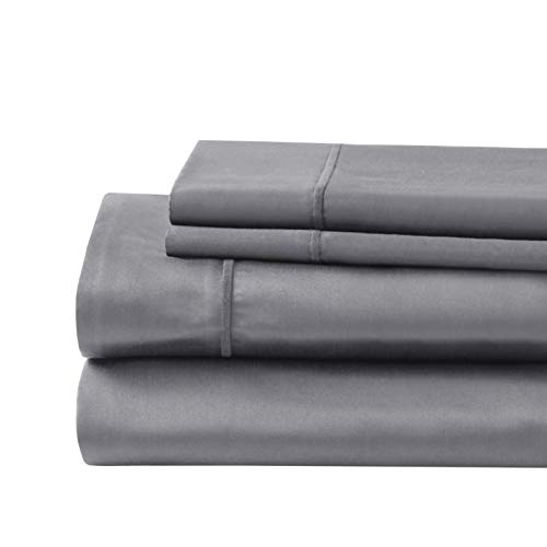 Hyde Lane 1000 Thread Count Luxury Cotton Bed Sheets | 4 Piece King Bed Sheet Set - Fitted, Flat Sheet & Pillowcases | Deep Pocket Stretches Up to 20 Inch to Easily Cover Large Mattress - Grey