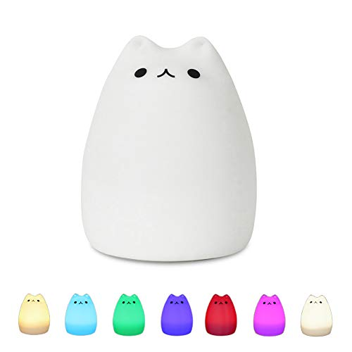 Night Light for Kids SCOPOW Portable Silicone Colorful LED Smile Cute Kawaii Nightlight Cat Lamp Baby Night Light