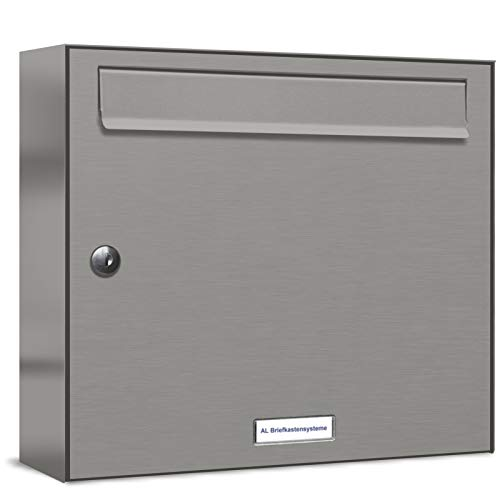 AL Briefkastensysteme 1er Briefkastenanlage Aluminiumgrau RAL 9007, Premium Briefkasten DIN A4, 1 Fach Postkasten modern Aufputz