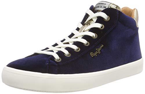 Pepe Jeans London Stark Sequins, Zapatillas Altas Mujer, Azul (Airforce BLU 596), 37 EU