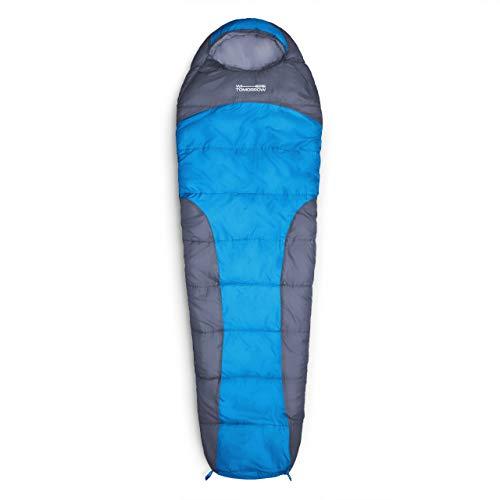 Lumaland Where Tomorrow Schlafsack Mumienschlafsack 230 x 80 cm - inkl. Packsack - 50 x 25 cm gepackt -für Outdoor Camping, Wandern, Backpacking - Blau