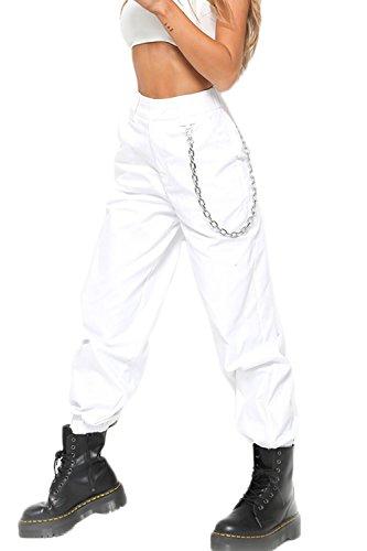 YACUN Damen Cargo Hosen Hip Hop Jogger Street Hose mit Kette Pants Jogginghose weiße M