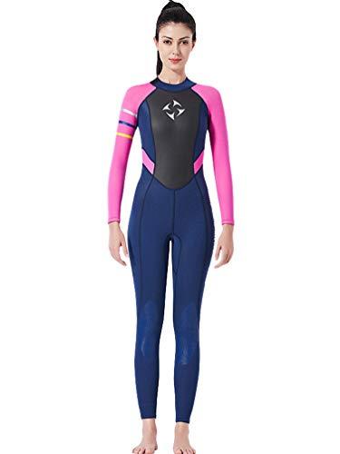 YuanDian Mujer 3mm Trajes De Neopreno Buceo Mono Stretch Espesar Cálido Submarinismo Traje De Buzo Una Pieza Surf Natacion Triathlon Snorkel Deportes Acuáticos Mono Ropa Buceo Azul Rojo S