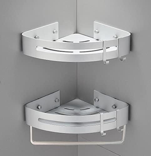 Yeegout Espesar Estante de esquina de baño Sin taladro, Aluminio Adhesivo montado en la pared Ducha Caddy Cocina Almacenamiento (2 niveles)