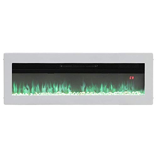GJJSZ Electric Fireplace Freestanding Wall/Insert Mounted Fire Suite Heater with 9 Flame Colour Effect,Manual Switches & Remote Control,900W/1800W,60 Inch White