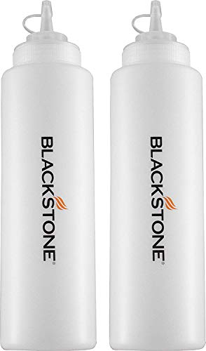 Blackstone 5071 Premium Leak-Free 32 oz Large Set of 2 Durable Clear Food Dispenser Squeeze Squirt Bottle Griddle Accessory with Cap for Sauces, Oil, Condiments,Salad Dressings, Water