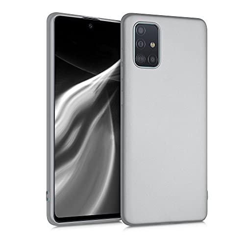 kwmobile Hülle kompatibel mit Samsung Galaxy A71 - Hülle Silikon metallisch schimmernd - Handyhülle Metallic Silber