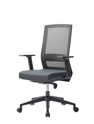 Duorest Square Ergonomic Mesh Office Chair, and 50mm Soft Dual-Wheel Casters - Adjustable Lumbar Height & Seat Depth & Arm Rest, Tilt Function, 3D Arm, Comfortable Back Support Office Chair (Black)