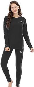 MEETYOO Conjuntos térmicos Mujer, Ropa Interior termica Invierno Base Layer Thermo Pantalones para Running Ciclismo Esquí (Negro, L)