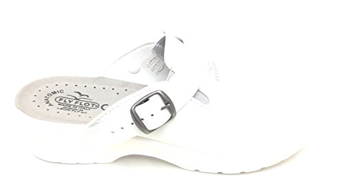 Fly Flot Z2398 EA Bianco Ciabatte SANITARIE Uomo Made in Italy Tomaia EVOPELL con Cinturino Sottopiede ANATOMICO in Vera Pelle CE EN ISO 20347:2012 Altezza Zeppa 4,5 CM Bianco 40
