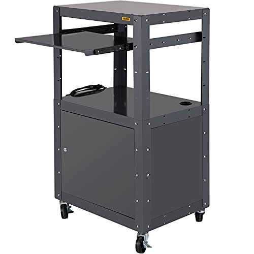 VEVOR Steel AV Cart, 27-41' Height Adjustable, Media Cart with Keyboard Tray and Locking Cabinet, 24' x 18' Length Presentation Cart with 3-Shelf, 150 lbs Projector Cart with 4 Wheels and 2 Brakes