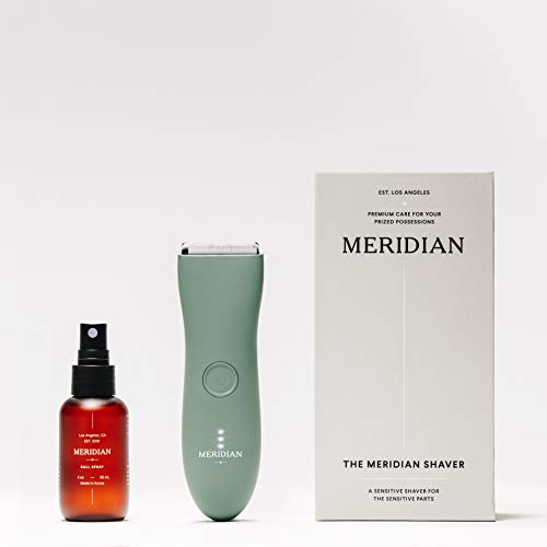The Complete Package by Meridian: Electric Below-The-Belt Trimmer + pH Balanced Ball Spray | Waterproof Groin & Body Shaver | 90 Minute Battery Life with USB Charging (Sage)