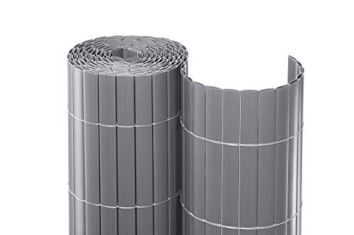 bambus-discount.com Balkonverkleidung Kunststoff 100 x 300cm Premium-Qualität - Farbe Silber