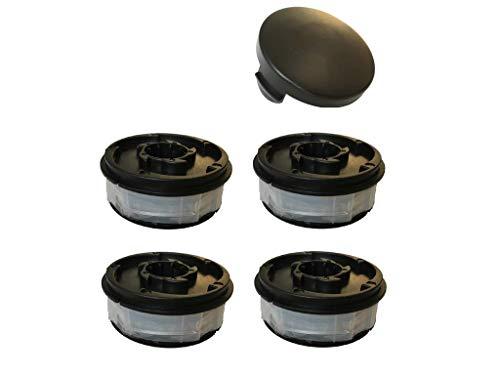 Rasentrimmer Spule Ersatzspule passend für ALDI Gardenline Elektro Rasentrimmer Set 4 Spulen + 1 Haube passend für ALDI Gardenline Elektro Trimmer GLR 450 -459 + 450/1 - 450/5 GLT 453 - 458