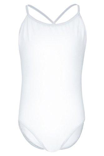 tanzmuster ® Ballettanzug Mädchen Träger - Leonie - (Größe 92-170) aus Baumwolle, Ballettbody Ballett Trikot in weiß, Größe 128/134