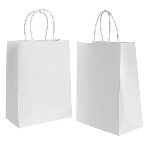Gaoyong 30 Stk Papiertüten Weiß mit Henkel Geschenktüten,Papiertragetaschen Für Lebensmittel Backen Merchandise Boutique Einzelhandel (verdicken 130gsm)
