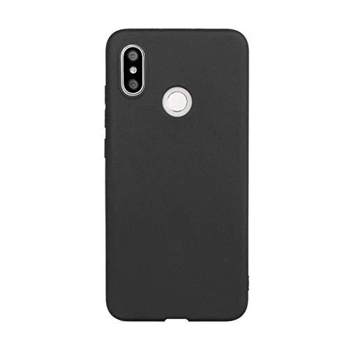 CUZZCASE Funda para Xiaomi Mi 8+{Protector de Pantalla de Vidrio Templado} Carcasa Silicona Suave Gel Rasguño y Resistente Teléfono Móvil Cover-Negro