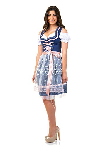 Trachtl.de Dirndl Trachtenkleid Damen Sarah IN BLAU 3.TLG 46