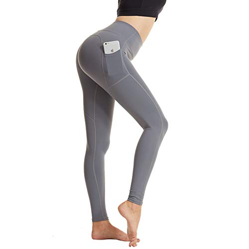 High Waisted Leggings for Women with Pocket, Tummy Control Leggings Workout Running 4 Way Stretch Yoga Pants Grey