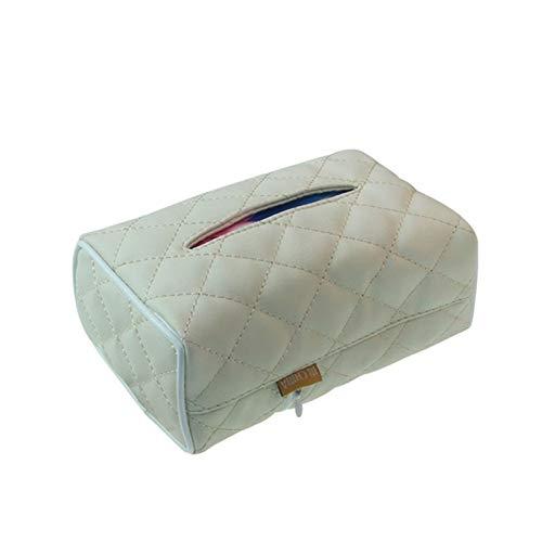 Rechteckige Leder-Kasten-Serviette-Halter for Auto-Automobil-Dekoration (Color Name : White)